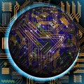 Abstract hollow sphere chip microcircuit silicon chip microchip Royalty Free Stock Images