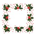 Abstract Holly Berry Wreath with Red Berries Royalty Free Stock Photo