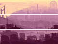 Abstract horizontal banner of big city in sunset. Stock Photo