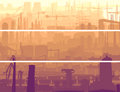 Abstract horizontal banner industrial part of city in the mornin Royalty Free Stock Image