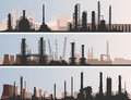 Abstract horizontal banner industrial part of city vector with factories refineries and power plants Royalty Free Stock Image