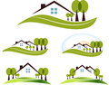 Abstract house icons and trees illustration set beautiful garden trees and lawn isolated on a white background Stock Photos