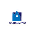 Abstract house logo - Blue house. logo vector illustration Royalty Free Stock Photo
