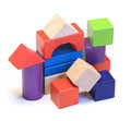 Abstract house made from colorful wooden building blocks Stock Photography