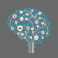 Abstract human brain and social media this is file of eps format Royalty Free Stock Photo