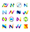 Abstract icons design based on the letter N