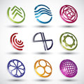 Abstract icons of different shapes vector set round symbols collection Stock Photo