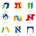 Abstract icons for letter N Royalty Free Stock Photos