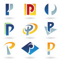 Abstract icons for letter P Stock Images