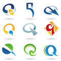 Abstract icons for letter Q Royalty Free Stock Images