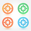 Abstract icons set made of circles and crosses vector Stock Photos