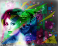 Abstract Illustration beautiful Fantasy woman with purple hairstyle and flowers Royalty Free Stock Photo