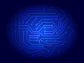 Abstract illustration of blue printed circuit board background Royalty Free Stock Photos