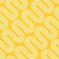 Abstract Illustration of Electric Radiant Heating. White Waves on Yellow Background. Vector Seamless Pattern