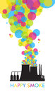 Abstract illustration of factory with balloons. Royalty Free Stock Photos