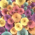 Abstract Illustration of paper-crafted, quilling flowers with different shades of spring colors. 3d rendering Royalty Free Stock Photo