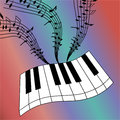 Abstract illustration of piano keys with a whirlwind of musical notes.