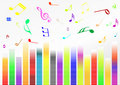 Abstract illustration with volume bars and music n Stock Images