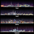 Abstract illustrations of Tokyo, Seoul, Sydney and Auckland skylines at night.