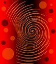 Abstract image with glowing orange spiral and circles on red and black gradient background, fiery infernal emotion Royalty Free Stock Photo