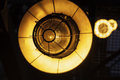 Abstract image street industrial lamps closeup yellow fireproof lanterns close up Stock Photo