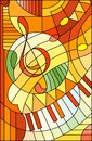 Stained glass illustration Abstract image of a treble clef in stained glass style ,in yellow orange tones
