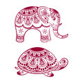 Abstract Indian elephant with turtle. Carved elephant and turtle. Royalty Free Stock Photo