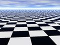 Abstract infinite chess floor and cloudy sky Royalty Free Stock Photo