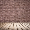 Abstract interior wooden floor and brick wall with brown Royalty Free Stock Photography