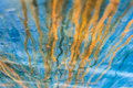 Abstract Iron Bleeding. Grunge Background of Old Blue and Orange