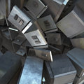 Abstract iron cubism d composition of cubic metal objects created with ds max Royalty Free Stock Photo