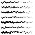 Abstract irregular line set. Different wavy, zigzag dividers, li