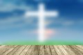 Abstract Jesus on the cross blue sky with wooden paving. Royalty Free Stock Photo