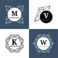 Abstract jewel gems, diamond jewellery, crystal shapes vector monograms, logos