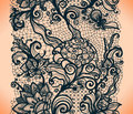 Abstract lace ribbon vertical seamless pattern. Royalty Free Stock Photo