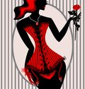 Abstract lady in red corset with red rose Royalty Free Stock Photo