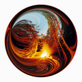 Abstract landscape inside of circle. Stock Image