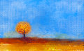 Abstract landscape tree and field oil painting yellow orange red color blue sky of falling season Royalty Free Stock Image