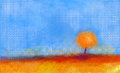 Abstract landscape tree and field oil painting yellow orange red color blue sky of falling season Royalty Free Stock Photography