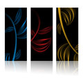 Abstract leaf banners set of three black with leafs lines Royalty Free Stock Photo