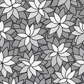 Abstract leaf plant seamless monochrome background Royalty Free Stock Photo
