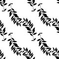 Abstract leaves seamless pattern. Hand drawn leaf silhouettes with scribble textures. Royalty Free Stock Photo