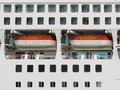 Abstract of lifeboats on a large cruise ship Stock Photos