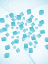 Abstract light blue flying cubes background Stock Photo