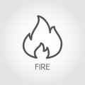 Abstract line icon of fire. Flame gas simplicity outline pictograph on gray background. Vector contour illustration