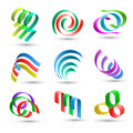 Abstract lines icons set of colorful Royalty Free Stock Photo
