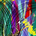 Abstract llustration background illustration with paint strokes splashes and geometric lines Stock Images