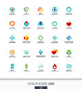 Abstract logo set for business company. Healthcare, medicine and pharmacy cross concepts. Health, care, medical Royalty Free Stock Photo