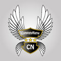 Abstract logo shield, stars and wings Royalty Free Stock Photo