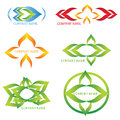 Abstract logos set of four and colourful Stock Photos